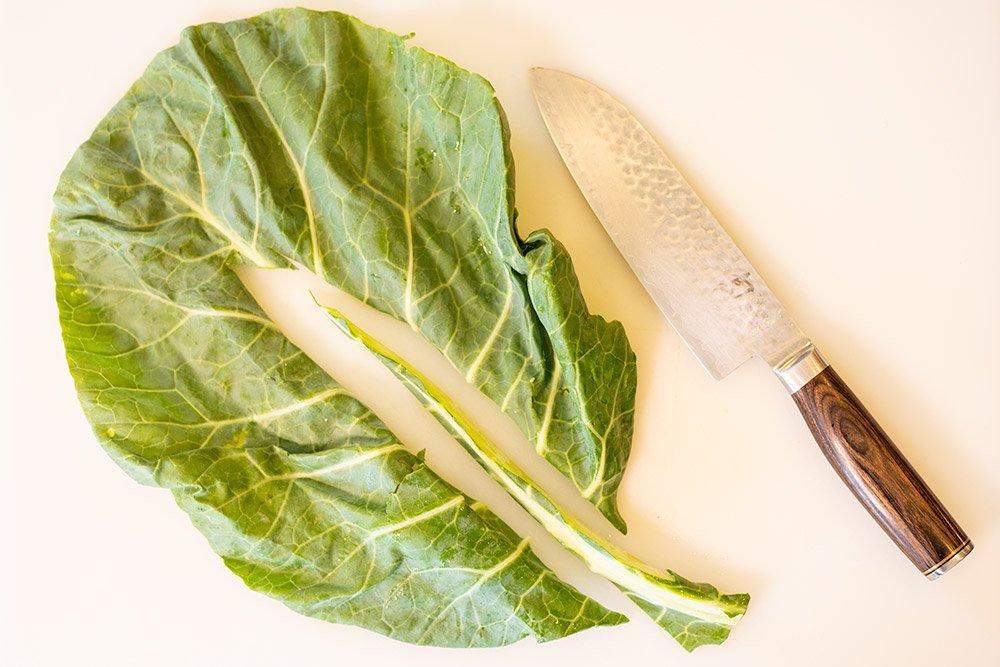 how to trim collard greens