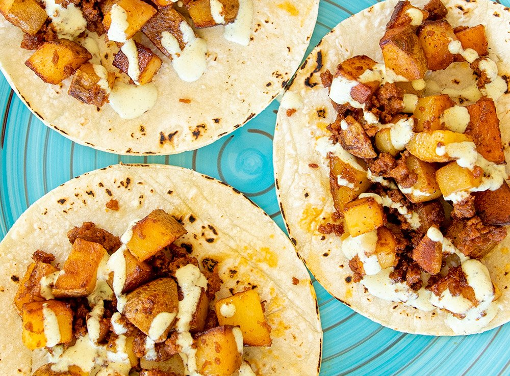 Chorizo con Papas with Jalapeno Crema