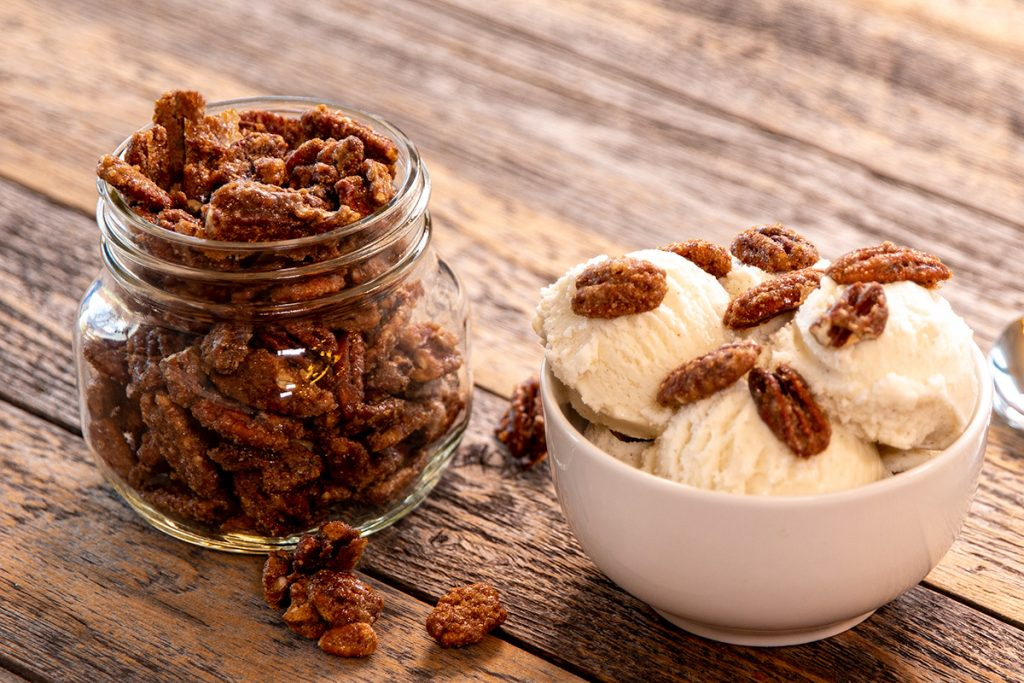 Candied Pecans with Blue Bell Ice Cream