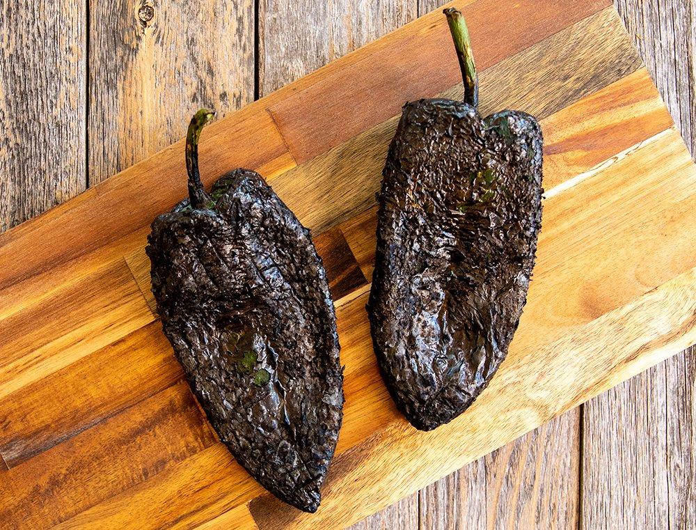 blackened poblanos