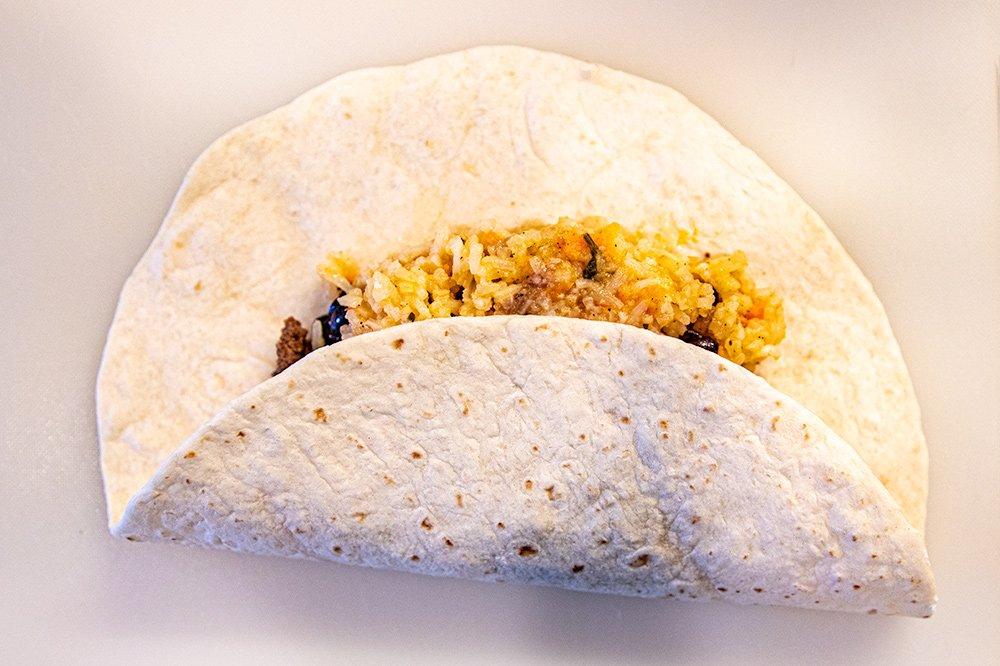 First fold to make a burrito