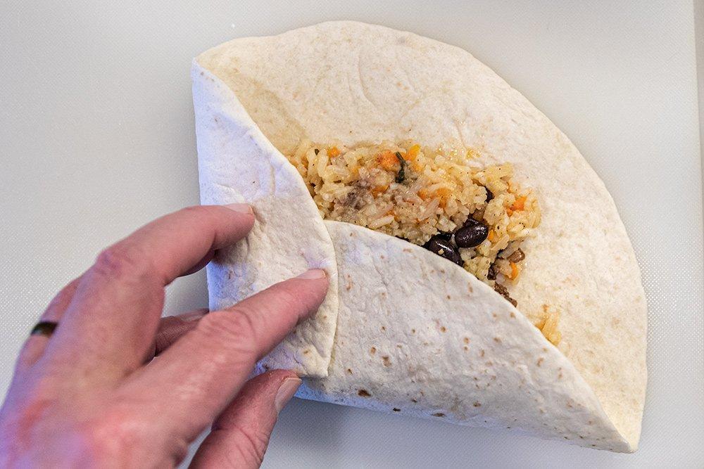 Second fold to make a burrito